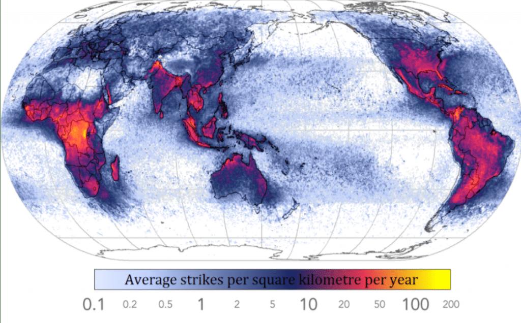 lightning strike density